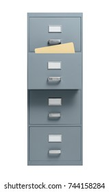 Filing cabinet with open drawer on white background, storage and administration concept