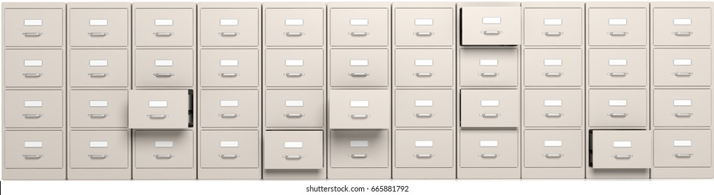 Filing cabinets with open drawers. 3d illustration