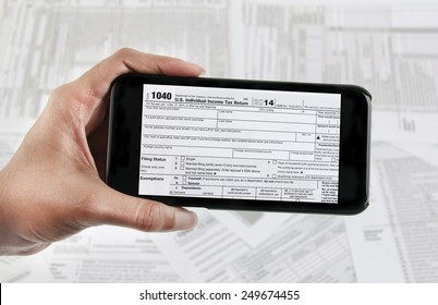 Filing taxes online using a mobile phone and internet