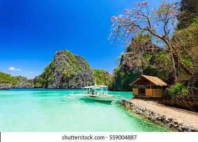 Filipino boat in the sea, Coron island, Philippines