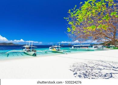 Filipino boats in the sea, Boracay, Philippines