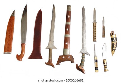 Filipino Fighting Sword and Knife Collection on White Background