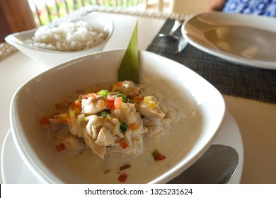Filipino Food known as Kinilaw, a raw fish dish with vinegar and coconut