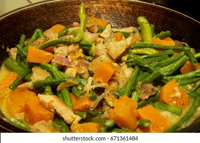 Filipino local cuisine food with squash, string beans and pork.
