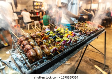 Filipino style shrimp, sausage and vegetable barbeque at Siargao