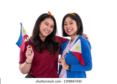 filipino woman holding philippines national flag isolated over white background