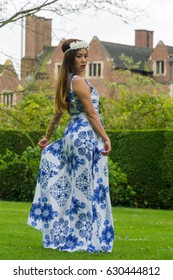 Filipino woman models in a park at springtime