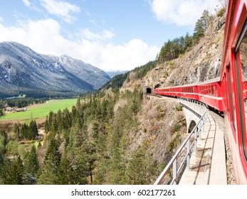 Filisur, Switzerland : The Landwasser Viaduct is a spectacular stone bridge, a 6 string. The construction on the three main pillars was an architectural masterpiece in 1901