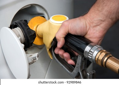 Fill up fuel at gas station