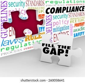 Fill the Gap words on a puzzle piece ready to be placed in a hole in a wall with words Compliance, guidelines, laws, regulations, security, process and more