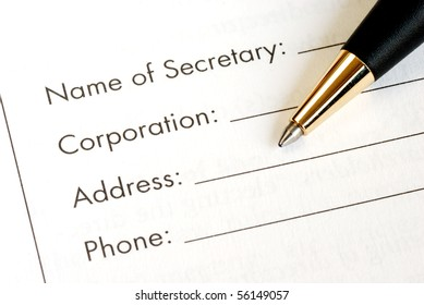Fill in the information of a corporation