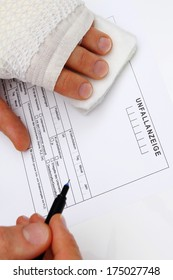 Fill out a accident report with injured hand