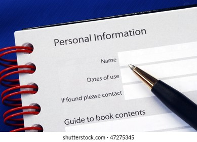 Fill in the personal information isolated on blue