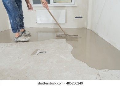 Fill screed floor repair and furnish, shallow dof