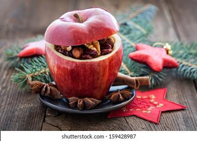 filled apple for christmas