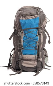 filled big backpack for trekking hiking isolated