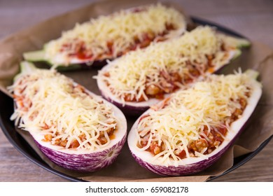 Filled eggplants halves with meat