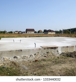 Filled foundation of the house and floors. Home construction