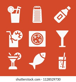 Filled set of 9 food icons such as juice, cheese grater, cocktail glass silhouette, fish, pizza, soda, champagne