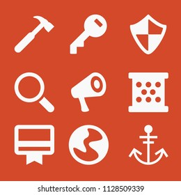 Filled set of 9 tool icons such as food grater, access key filled circular tool, speaker, membership, anchor, hammer silhouette