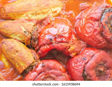 filled, stuffed, pepper and zucchini roasted with tomato sauce
