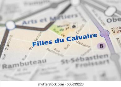 Filles du Calvaire Station. 8th Line. Paris. France