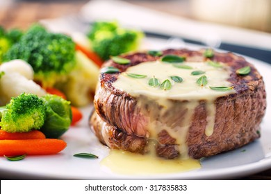 Fillet of beef with b���©arnaise sauce.