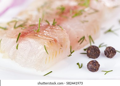Fillet of a lightly salted grayling closeup