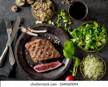 Fillet mignon and greens