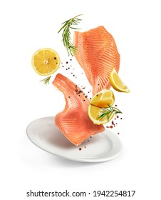 fillet of red fish with lemon and rosemary in a plate