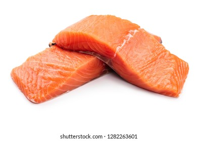 fillet of red fish salmon isolated on white background
