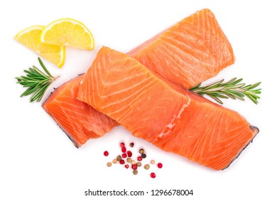 fillet of red fish salmon with lemon and rosemary isolated on white background. Top view. Flat lay