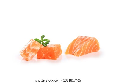 fillet salmon  isolated on white background
