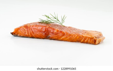 Fillet of salmon on white background.Selective focus.