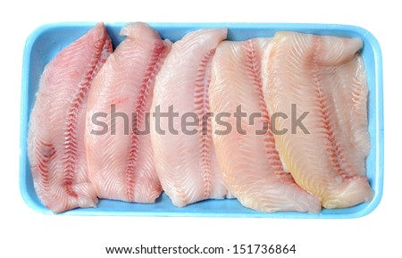 filleted catfish on tray isolated on white