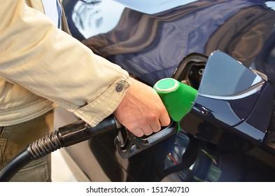 Filling up a car tank