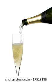 filling a glass cup with champagne wine isolated on withe background