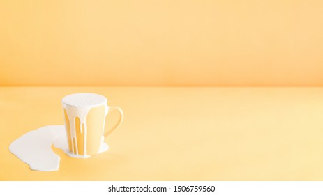 Filling too much milk into a mug