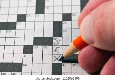 Filling in the word sex on a crossword puzzle.
