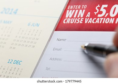 Filling in your information to win vacation