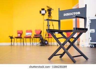 Film Cinema Directors Chair on a working Movie Set
