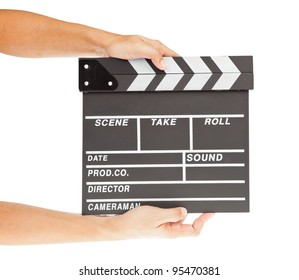 film clapper  board with space and hand