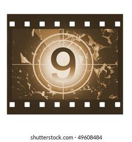 Film countdown in sepia design at No 9