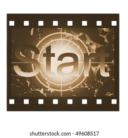 Film countdown in sepia design with Start sign