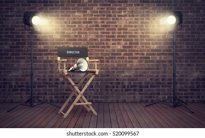 Film director's chair with megaphone and spotlights shining. 3D rendering