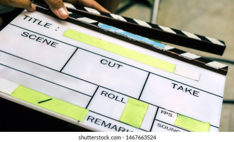 Film production crew, close up of movie Clapper board