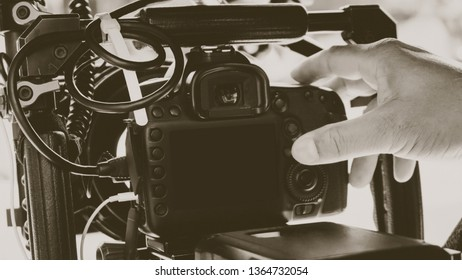 Film production crew,Behind the scenes background