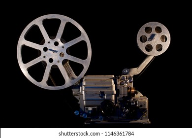 film projector on black background