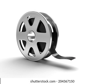 A film reel isolated on white background