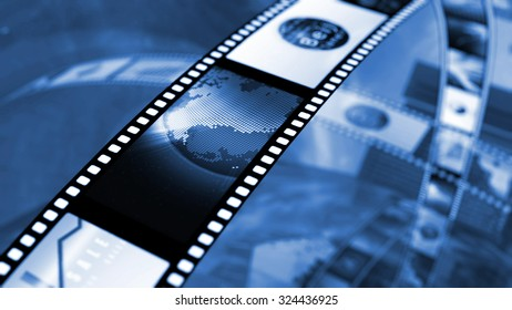 Film reel with stock market images. 3D rendering